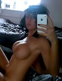 Nasty girlfriend teasing with her naturals